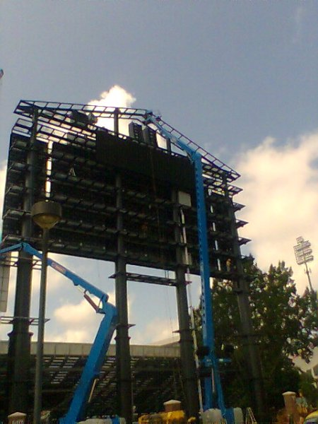 Video board from North end zone parking lot.