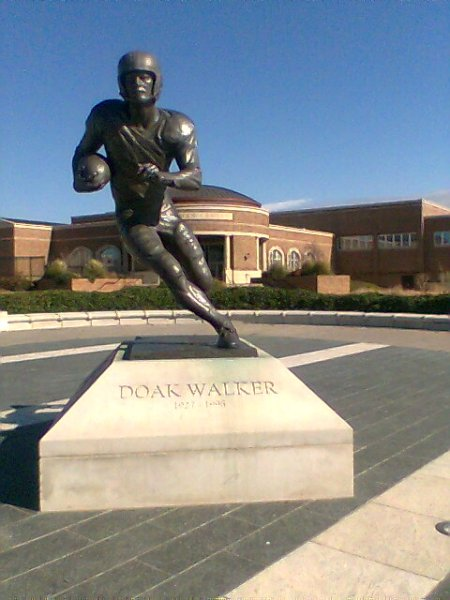 Former SMU great Doak Walker's statue sits just outside the stadium.